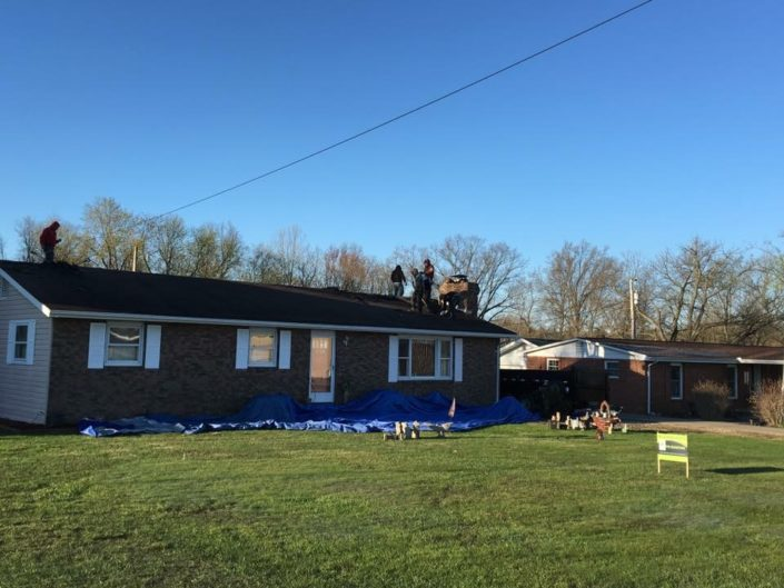 roof replacement job on a one-story house